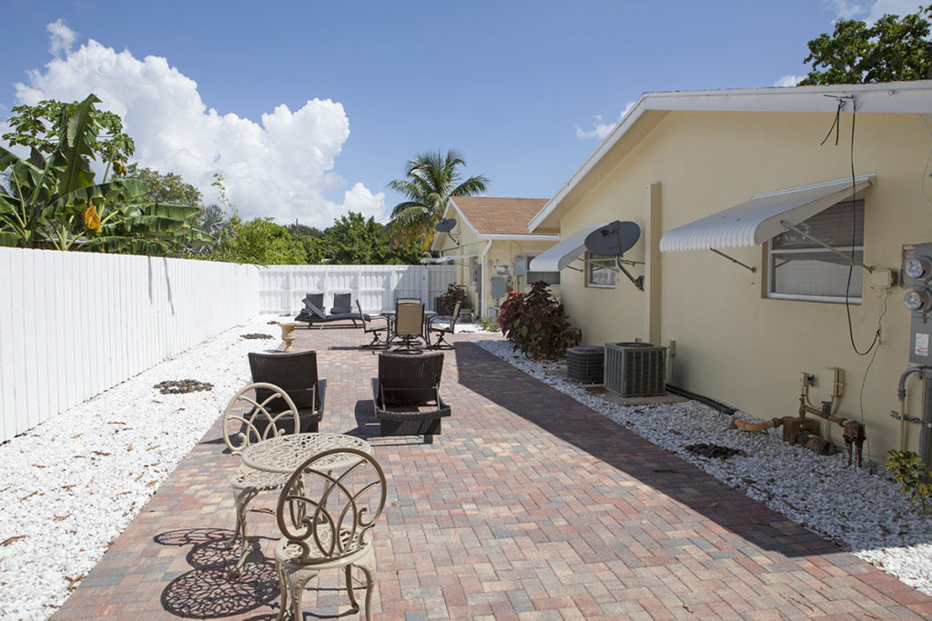 backyard of sober living in delray beach