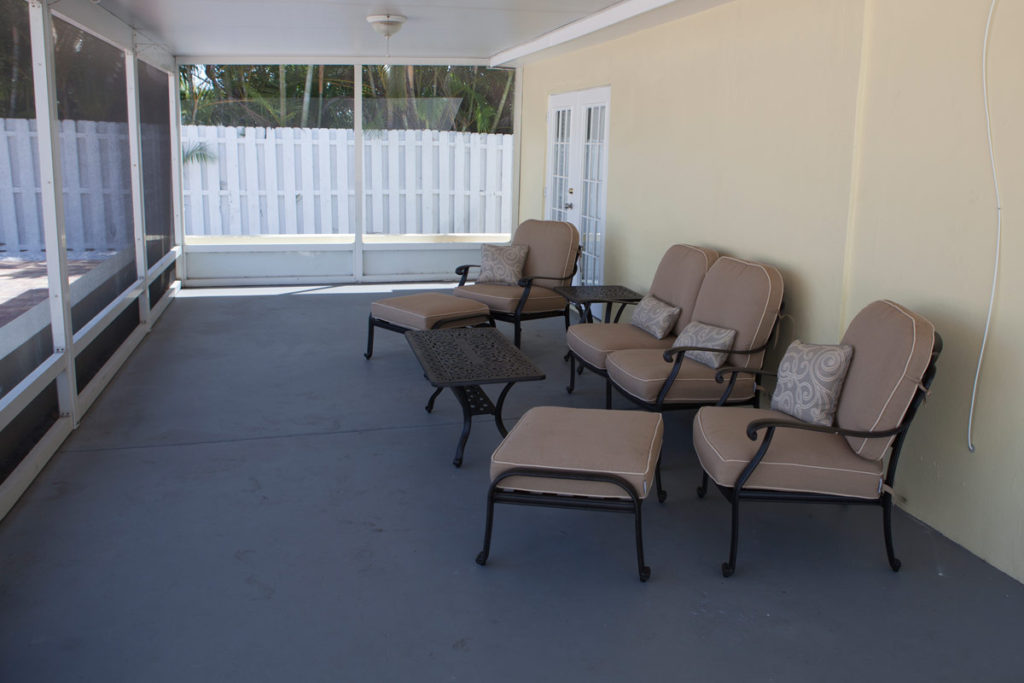 patio at a sober living in Delray Beach