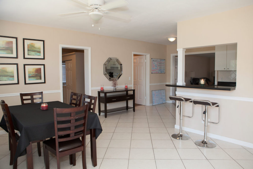 dining area at a sober living in Delray Beach