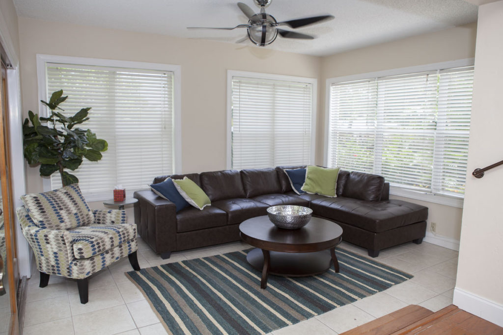 living room at a florida sober home