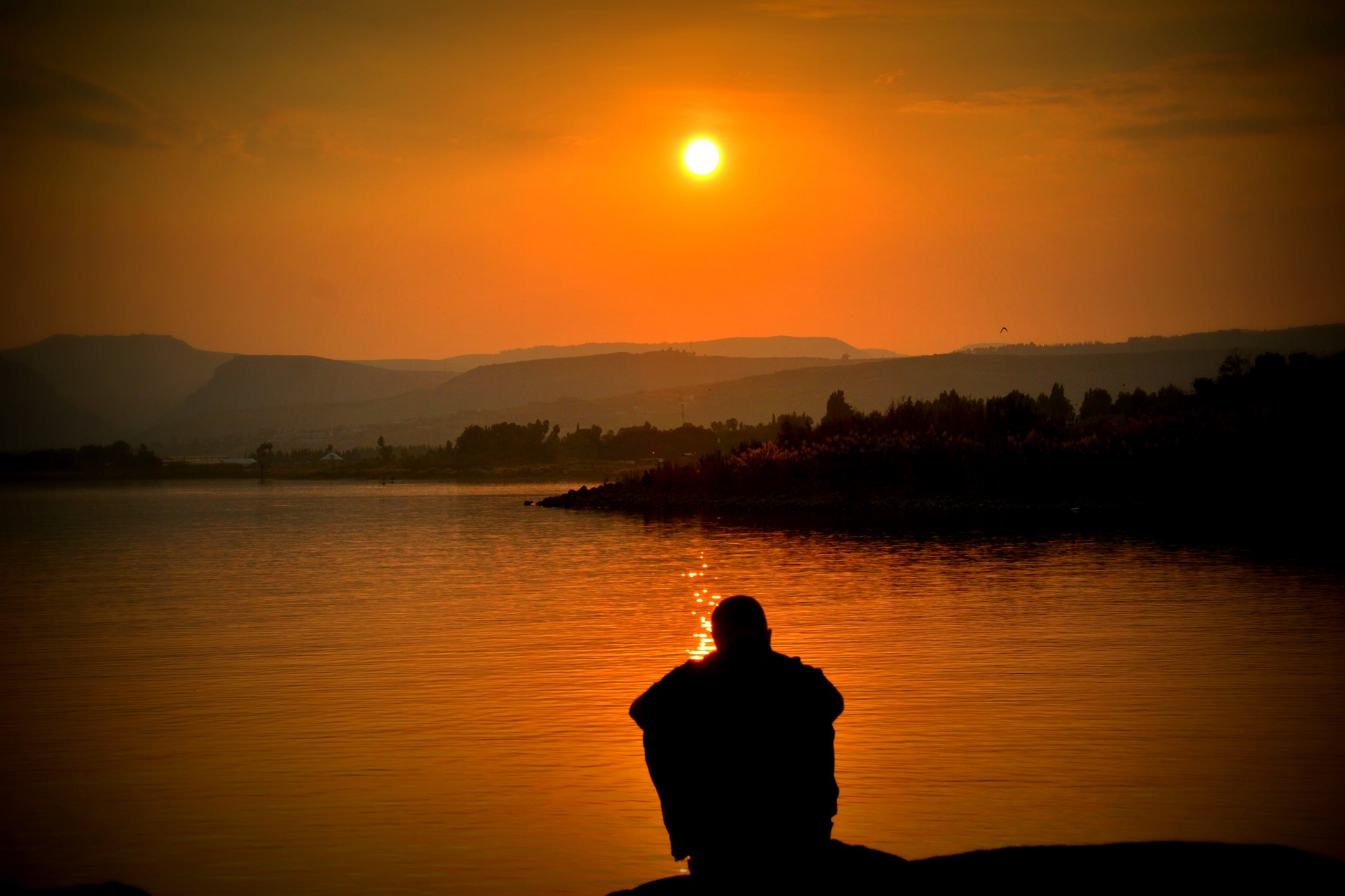 man sitting, looking at sunset. Represents PTSD and Addiction help