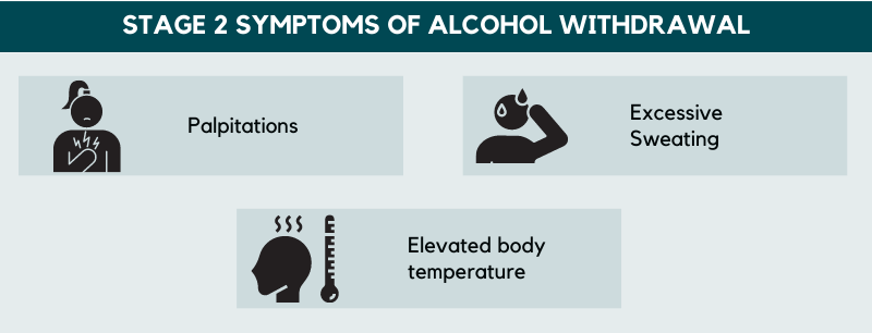 stage 2 symptoms of alcohol withdrawal
